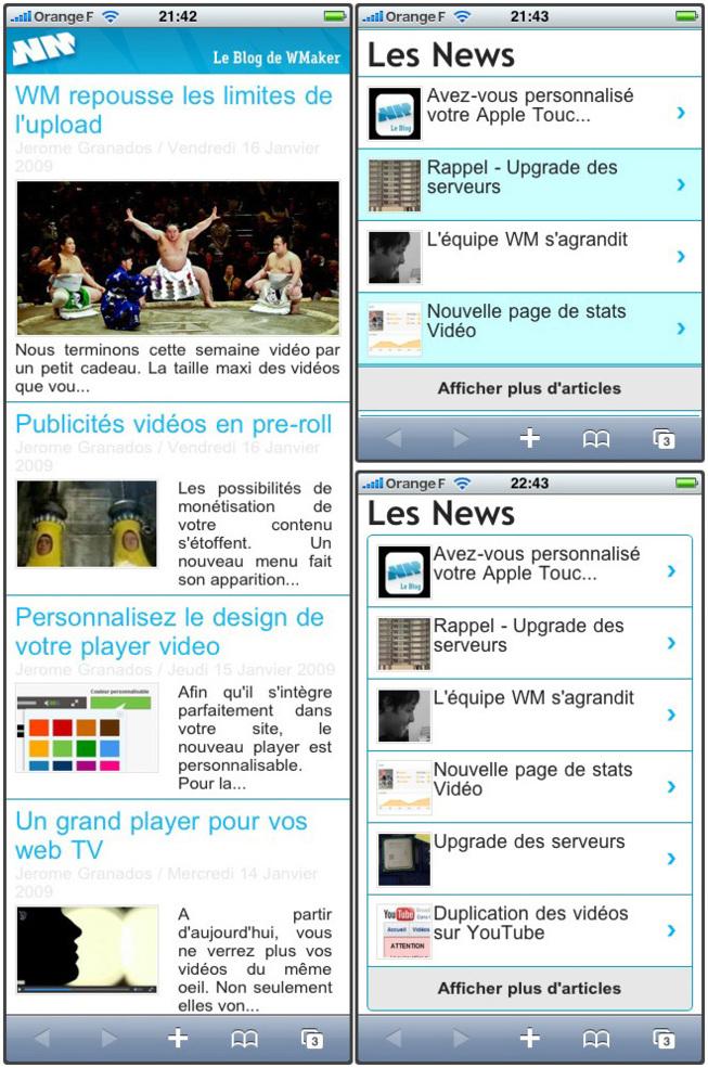 Version iPhone: les modules Une et Dernières actualités revisités