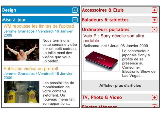 Rubriques à la Une en mode accordéon sur version iPhone