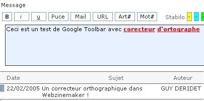 Google Toolbar avec correcteur d'orthographe