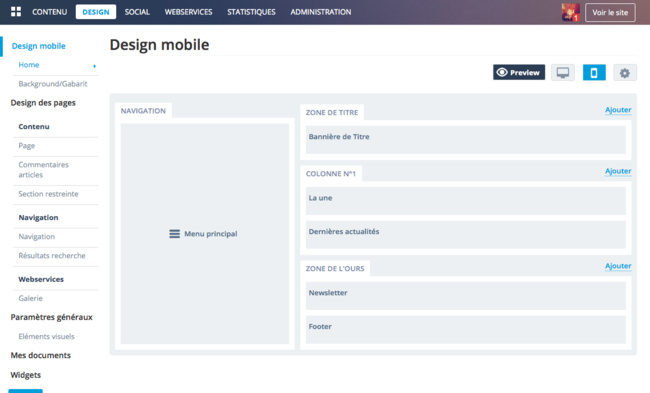 Backoffice : Design Mobile