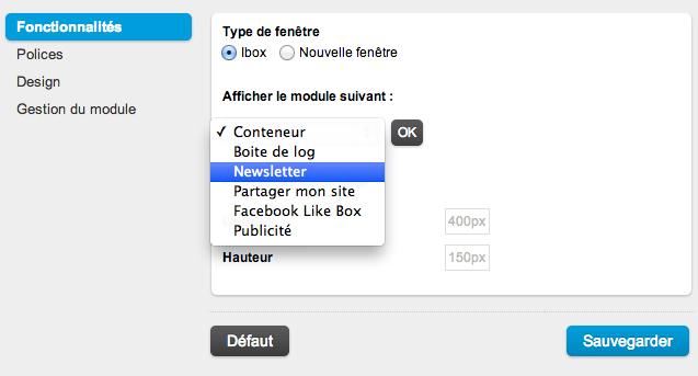 Ouverture d'une ibox au lancement du site